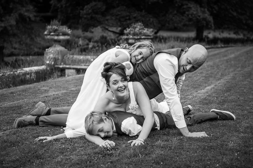Cowley Manor family wedding group shot