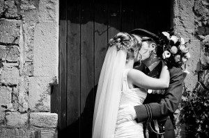 Eastington Park Wedding Photograph Monochrome couple kissing