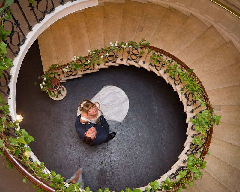 Eastington Park Wedding photograph Spiral Staircase