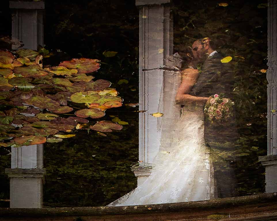 Rococo Gardens Painswick Reflections wedding couple