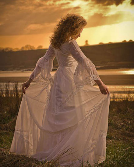sunset wedding dress picture