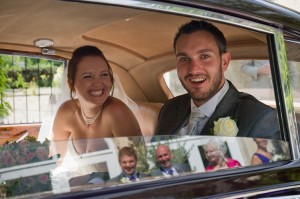 wedding photograph couple in car