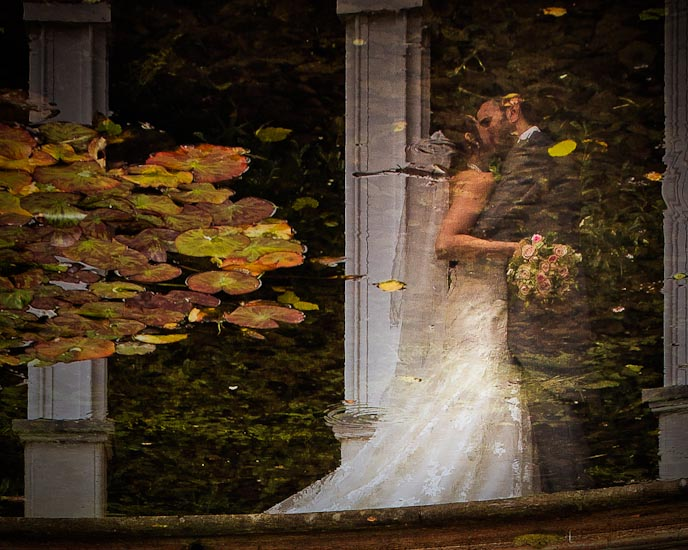 Rococo Gardens Wedding photograph reflection
