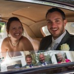 Rococo Gardens wedding picture reflection in wedding car