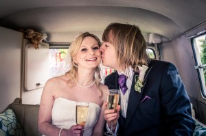 Hardwicke Church Wedding, SPilt screen Campervan