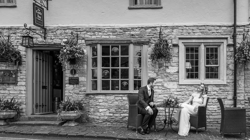 Castle Combe Wedding photograph, bride and groom.